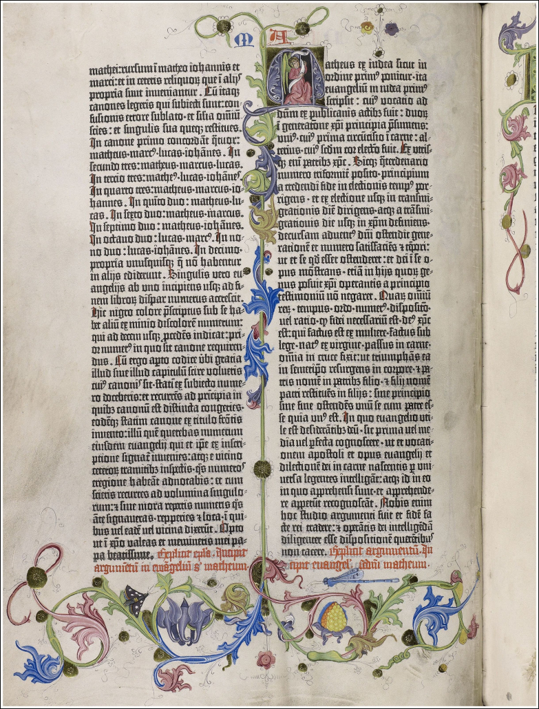 Ein reich geschmücktes Blatt der Gutenberg-Bibel / Staatsbibliothek zu Berlin-PK. Lizenz: CC BY-NC-SA 4.0