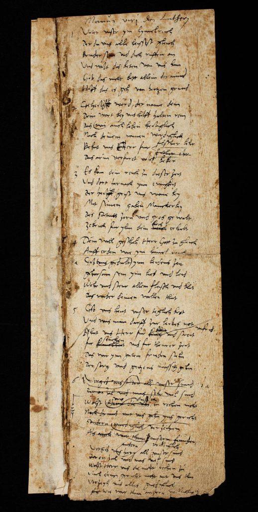 Martin Luther: Vaterunser-Lied. 1539. Autograph. Handschriftenabteilung. Lizenz: CC-BY-NC-SA