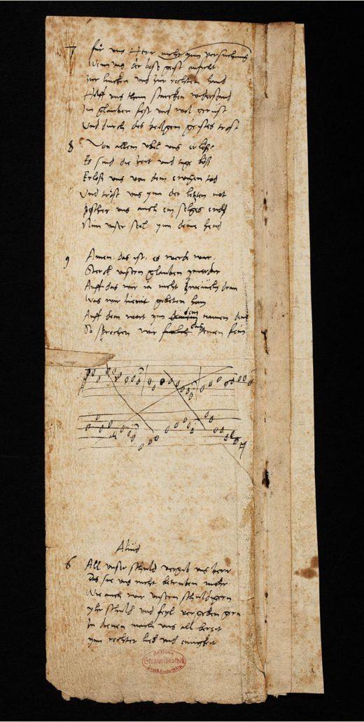 Martin Luther: Vaterunser-Lied. 1539. Autograph, Rückseite. Handschriftenabteilung. Lizenz: CC-BY-NC-SA