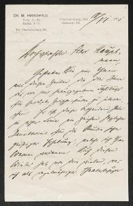 Brief vom 10. Juni 1901 von Magnus Hirschfeld an Gerhart Hauptmann. SBB-PK Sign. GH Br NL A: Hirschfeld, Magnus, 1, 1-2, Bl.