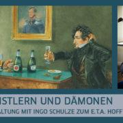 E.T.A. Hoffmann (links) und Ludwig Devrient im Weinkeller von Lutter & Wegner in Berlin (um 1900) © bpk | Ingo Schulze, in seiner Berliner Wohnung, 2017 © Gaby Gerster