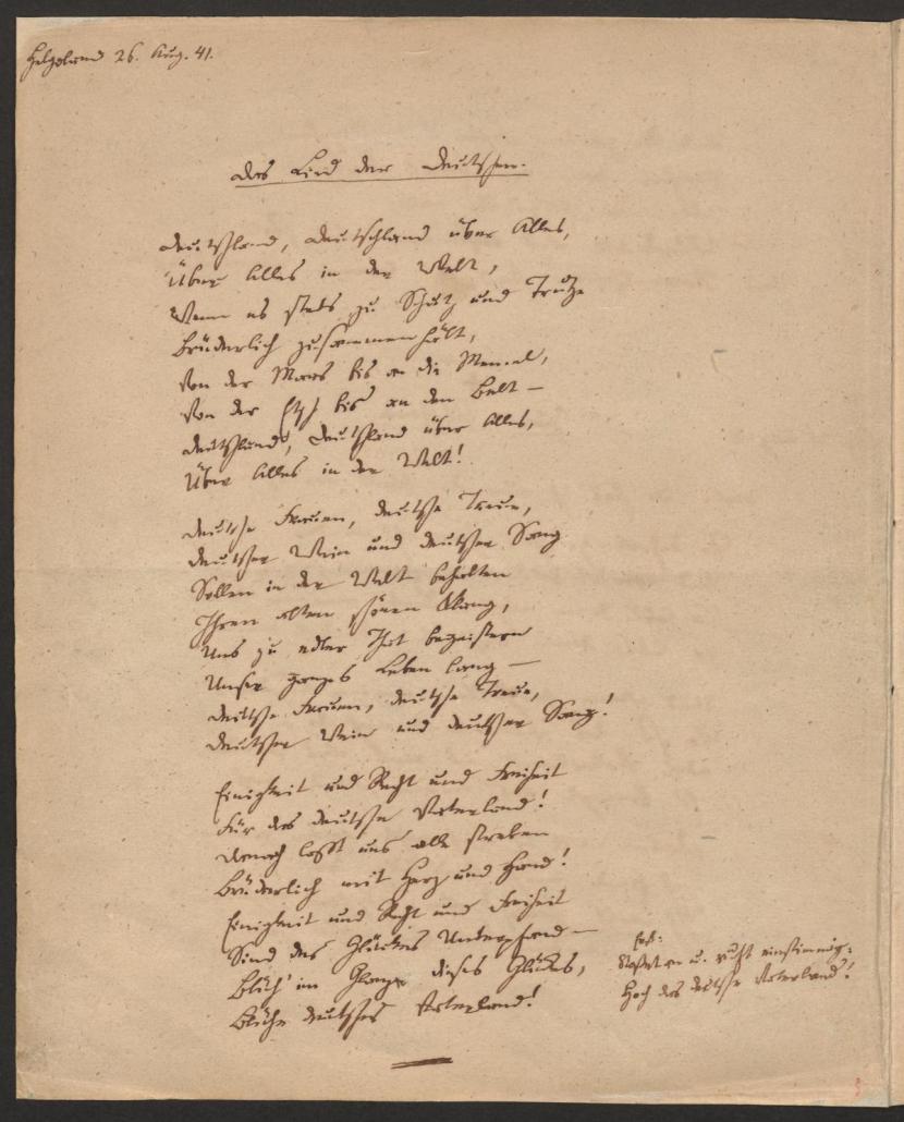 Hoffmann von Fallersleben, Heinrich: Das Lied der Deutschen, 1841. - SBB-PK, Signatur: Nachl. Hoffmann von Fallersleben, Heinrich, Nr. 70. - Public Domain