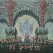 Bühnenentwurf von Karl Friedrich Schinkel zur Undine; Kühleborns Wasserpalast © bpk / Kupferstichkabinett, SMB