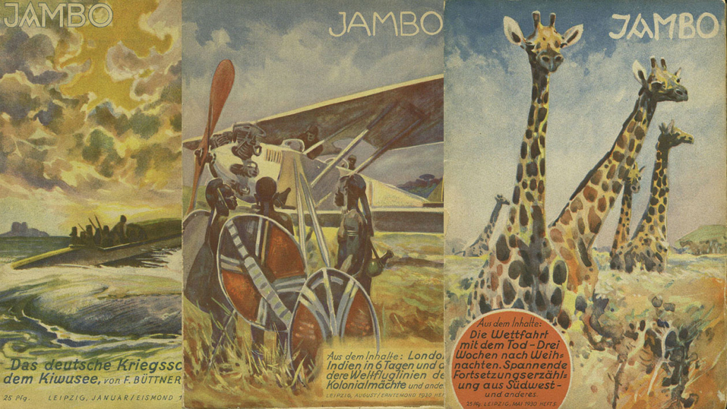"Title covers of the monthly colonialist youth magazine ""Jambo"", volume 6 (1930), issues 1, 8, and 5. - (Personal Collection)"