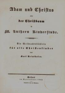 Titelblatt von Reinthalers Weihnachtsbüchlein aus dem Jahre 1843. Kinder- und Jugendbuchabteilung. Lizenz: CC-BY-NC-SA
