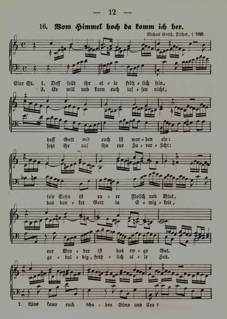 """Der Luther-Choral """"Vom Himmel hoch da komm ich her"""" in Reinthalers Weihnachtsbüchlein. Kinder- und Jugendbuchabteilung. Lizenz: CC-BY-NC-SA"""