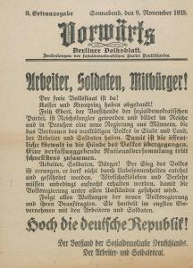 """Die 3. Ausgabe von sechs Ausgaben des """"Vorwärts"""" am 9. November 1918."""