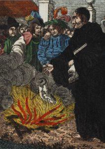Luther verbrennt die Bannbulle (Kinderbuch von 1830). Lizenz CC-BY-NC-SA
