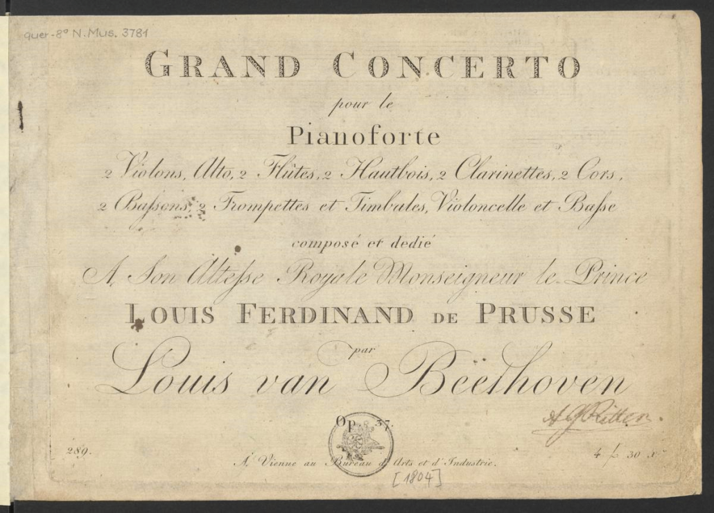Ludwig van Beethoven Klavierkonzert Nr. 3 op. 37 (Titelblatt)