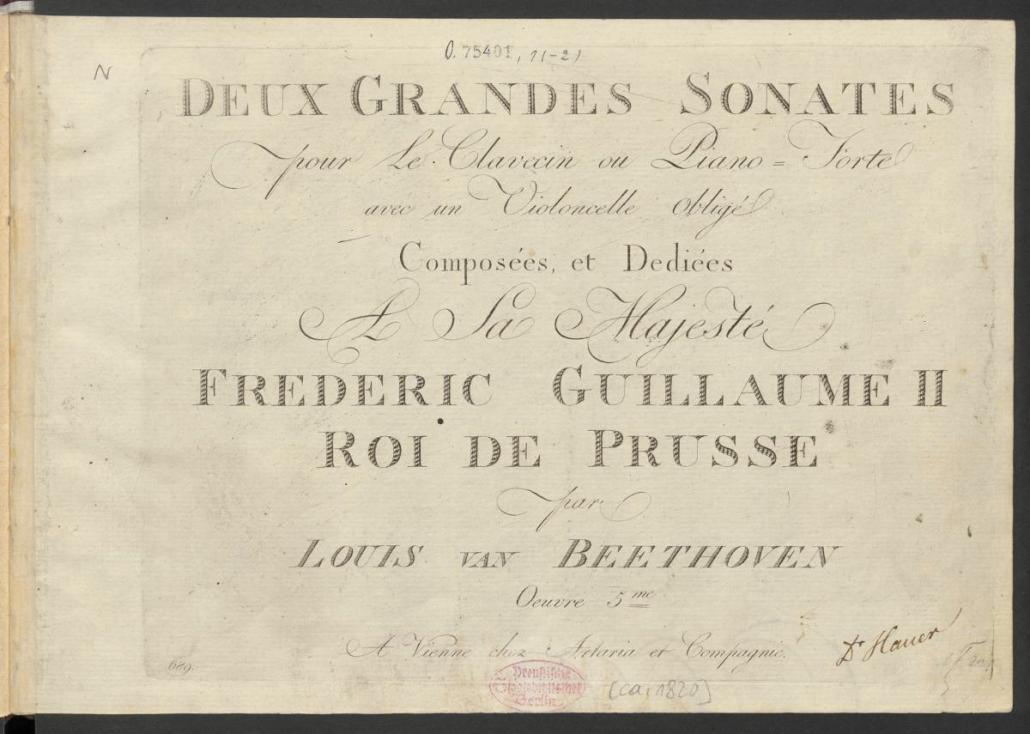 Ludwig van Beethoven Zwei Sonaten für Klavier und Violoncello op. 5 (Titelblatt)