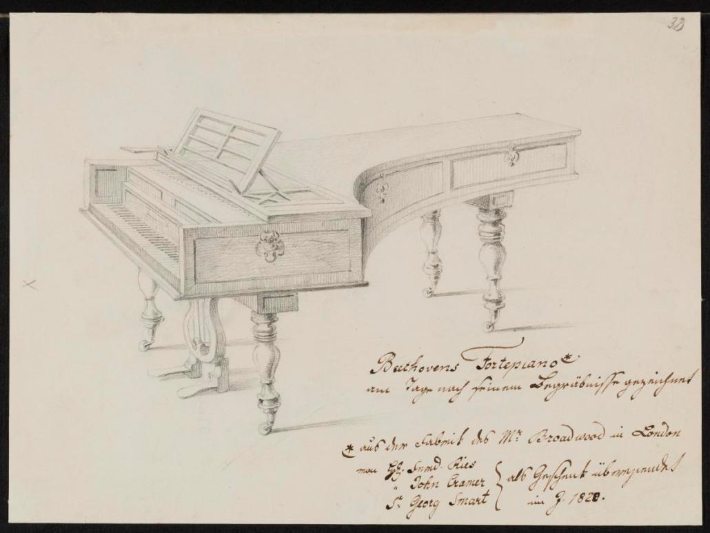 Beethovens Fortepiano, Bleistiftzeichnung 1827