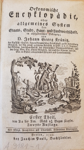 Oeconomische Encyclopädie. Th. 1 (1773), Titelblatt, Signatur: A 9181-1