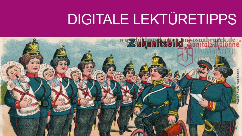 Gruss von der Musterung. Hebamme. Copyright: Historische Bildpostkarten - Universität Osnabrück (creativecommons.org/licenses/by-nc-sa/4.0/deed.de).