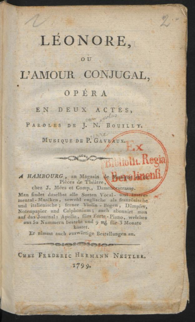 Léonore, ou l'amour conjugale Jean Nicolas Bouilly Hamburg, 1799