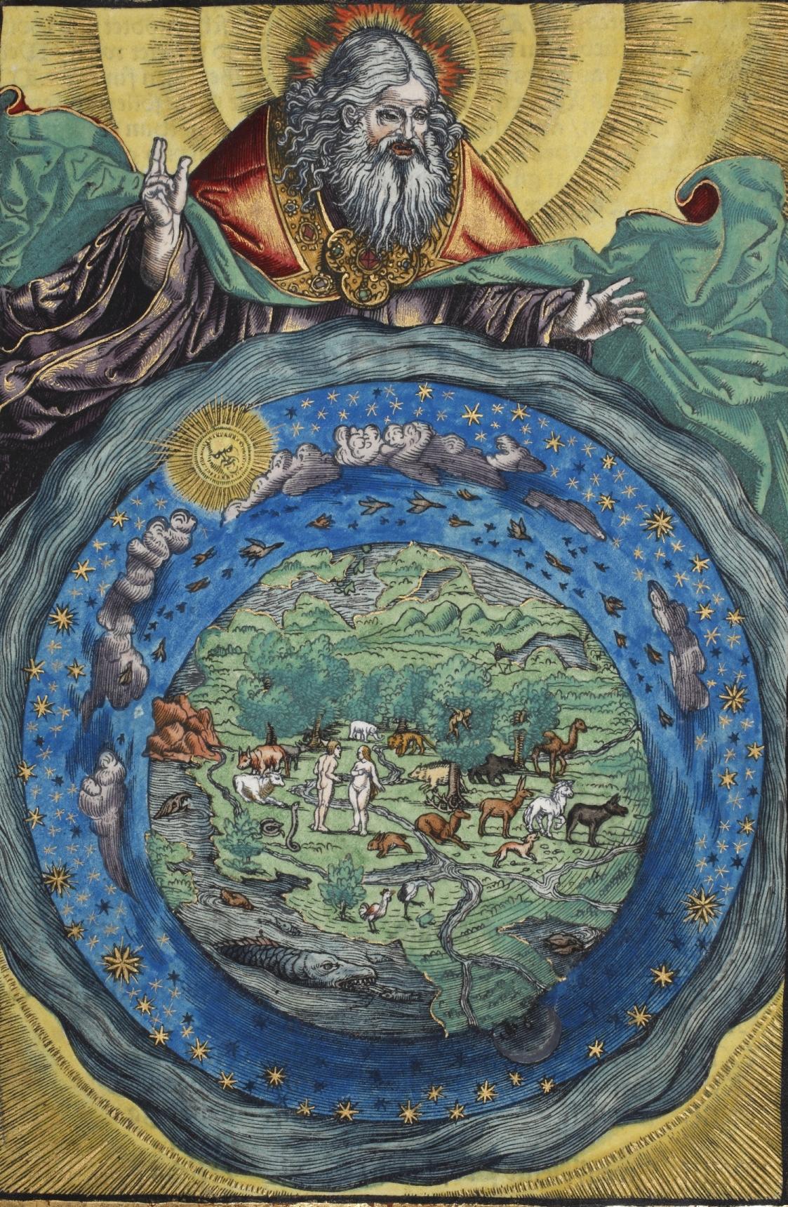 Handkoloriertes Schöpfungsbild aus dem ersten Band der Johannbibel. Abteilung Historische Drucke. Lizenz: CC-BY-NC-SA