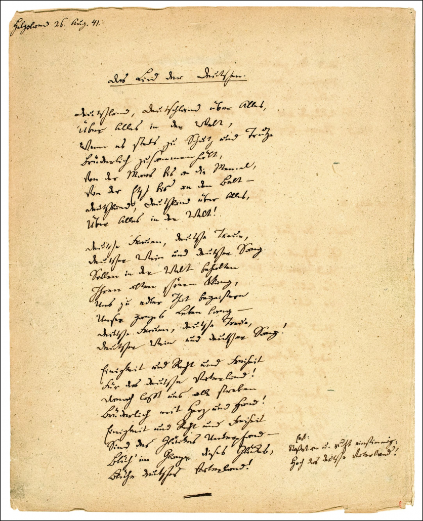 Fallersleben: Lied der Deutschen / Staatsbibliothek zu Berlin-PK. Lizenz: CC BY-NC-SA 4.0