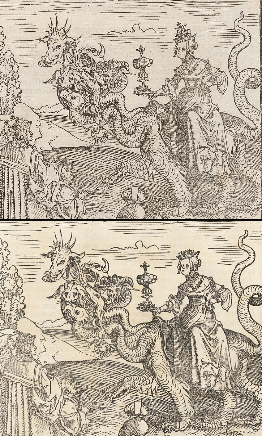 """Die """"Hure Babylon"""" aus dem September- und dem Dezembertestament (Holzschnitt aus der Werkstatt Lucas Cranachs d. Ä.). Abteilung Historische Drucke. Lizenz CC-BY-NC-SA"""