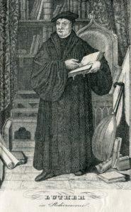 Luther im Studierzimmer mit Laute. Lithographie 19. Jh. Handschriftenabteilung. Lizenz: CC-BY-NC-SA