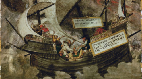 """Der Philosoph Pyrrhon in stürmischer See"""").-(Diogenes Laertius, Book IX, 61-108, On Pyrrho). Illumination, first quarter of 16th c., Petrarch Master.Quelle: Britannica ImageQuest. Copyright: akg Images / Universal Images Group"