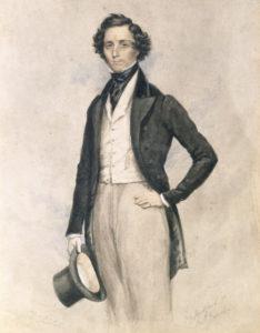 Felix Mendelssohn Bartholdy um 1829. Aquarell von James Warren Childe. Musikabteilung. Lizenz: CC-BY-NC-SA