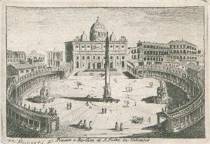 Petersplatz und Petersdom, aus: Andrea Manazzale, Itinerario di Roma e Suoi Contorni […], Roma 1817. Lizenz: CC-BY-NC-SA