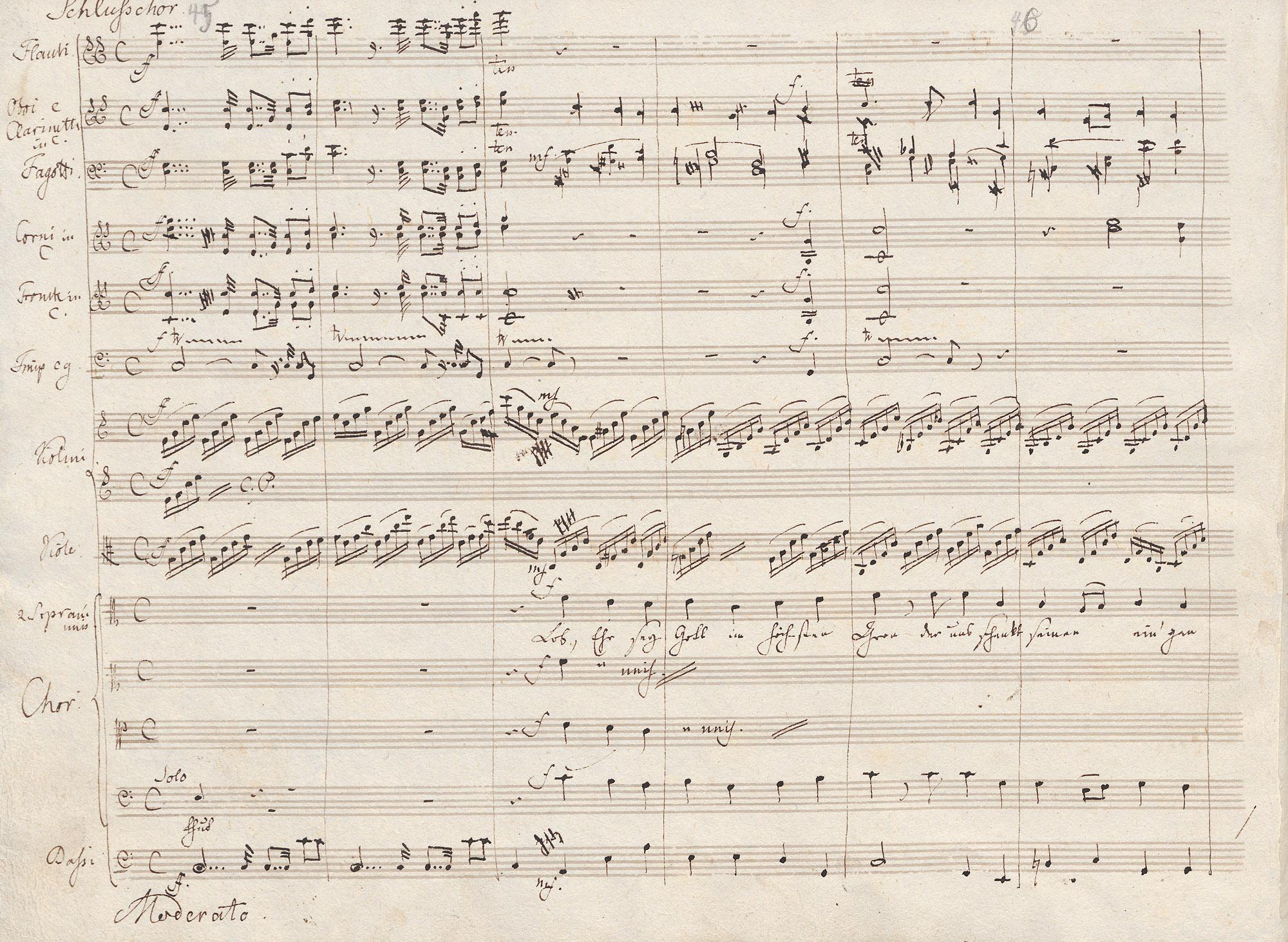 Felix Mendelssohn Bartholdy: Vom Himmel hoch da komm ich her MWV A 10. Autographe Partitur. Beginn des Schlusschors. Musikabteilung. Lizenz: CC-BY-NC-SA
