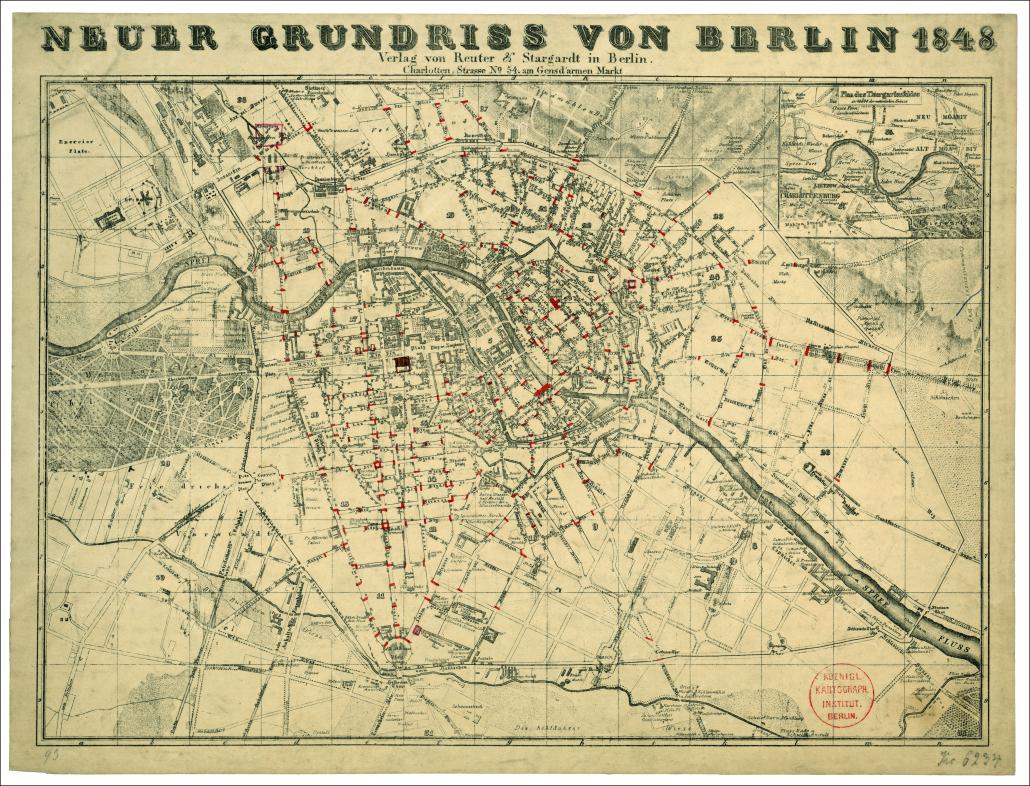 Neuer Grundriss von Berlin 1848 / Staatsbibliothek zu Berlin-PK. Lizenz: CC BY-NC-SA 4.0