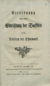 """Titelblatt von: Verordnung wegen besserer Einrichtung der Backöfen in den Dörfern der Churmark. Berlin : Decker, 1794. SBB-PK: 56 in: 2""""An 8630-10 R"""