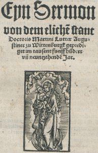 Nicht autorisierter Druck der Predigt vom ehelichen Stand. Abteilung Historische Drucke. Lizenz: CC-BY-NC-SA