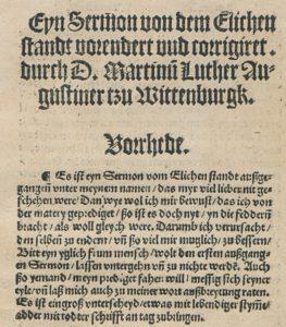 Von Luther korrigierte Druck der Predigt vom ehelichen Stand. Abteilung Historische Drucke. Lizenz: CC-BY-NC-SA