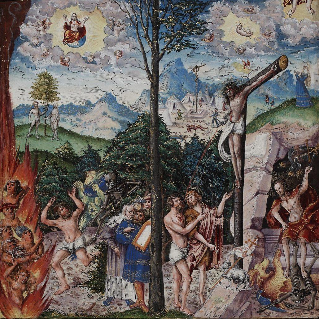 Allegorie auf Gesetz und Gnade von Lucas Cranach d. J. im zweiten Band der Johannbibel. Abteilung Historische Drucke. Lizenz: CC-BY-NC-SA
