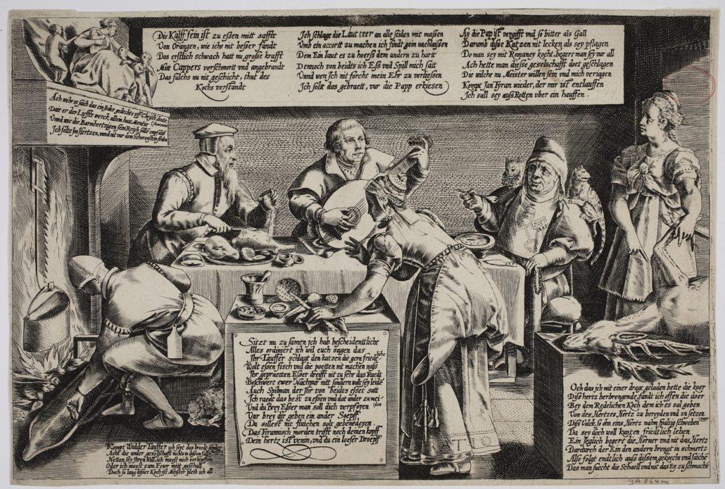 Culina opiniorum, Kupferstich nach Dirk Volkertszoon Coornhert. Handschriftenabteilung. Lizenz: CC-BY-NC-SA
