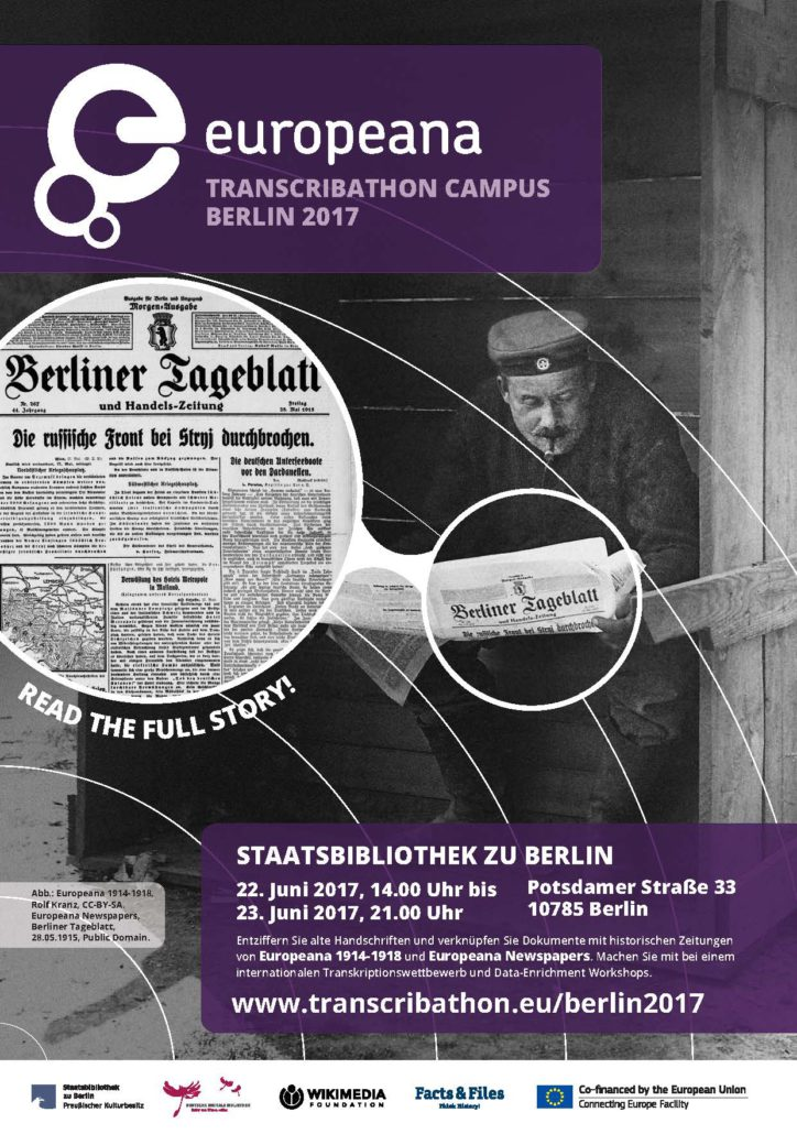 Poster Europeana Transcribaton Campus Berlin 2017