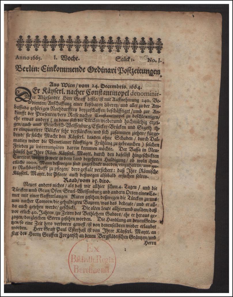 Eine der ersten Tageszeitungen der Welt - Rara-Sammlung - Bibliotheksignatur: Ztg 671 : R / Staatsbibliothek zu Berlin-PK. Lizenz: CC BY-NC-SA 4.0