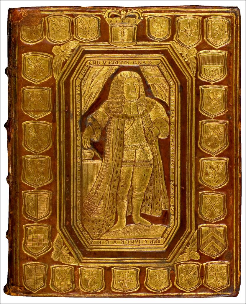 Bucheinband der 'Curieusen Persian- und Ost-Indischen Reise-Beschreibung' / Staatsbibliothek zu Berlin-PK. Lizenz: CC BY-NC-SA 4.0