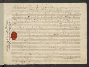 Chor der Gefangenen in B-Dur O welche Lust Skizze mit Siegel und Besitzvermerk des Artaria-Verlages, 1804-1805