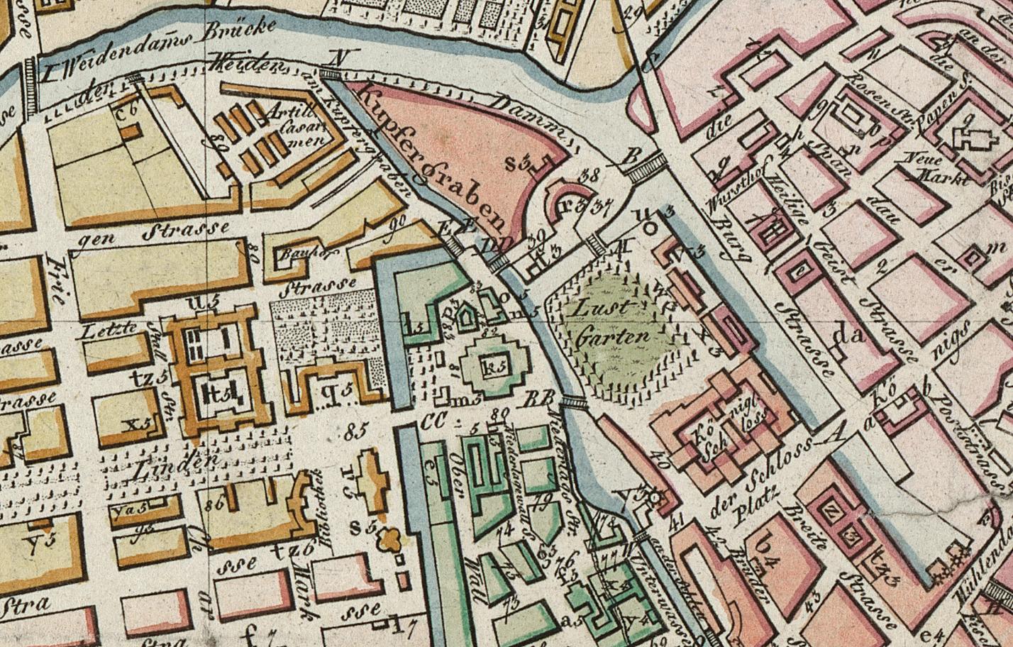 Beethoven in Berlin, Stadtplanausschnitt um 1800