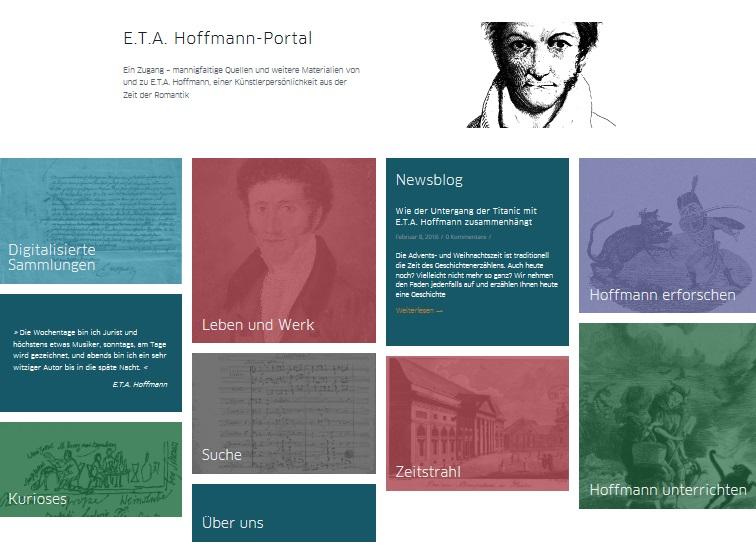 Erster Entwurf Startseite E.T.A. Hoffmann-Portal