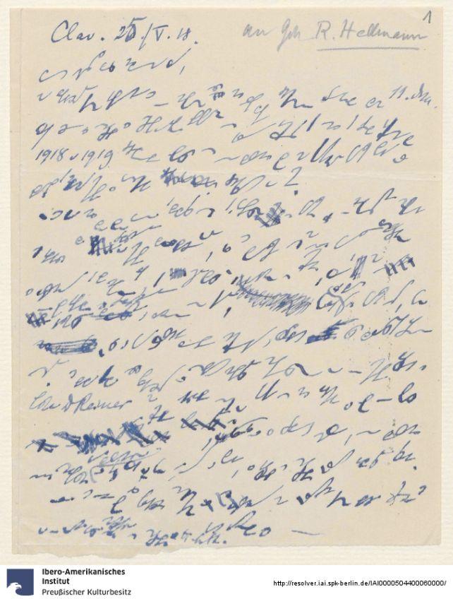 Hans Steffen: Briefentwurf an [Gustav] Hellmann, in der von Steffen oft benutzten, schwer entzifferbaren Kurzschrift. https://digital.iai.spk-berlin.de/viewer/image/755923073/1/