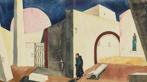 """Traugott Müller, Bühnenbildentwurf zu """"Herodes und Mariamne"""", 1926, Aquarell, Bleistift auf Papier, Theaterhistorische Sammlungen der FU Berlin, Nachlass Traugott Müller"""
