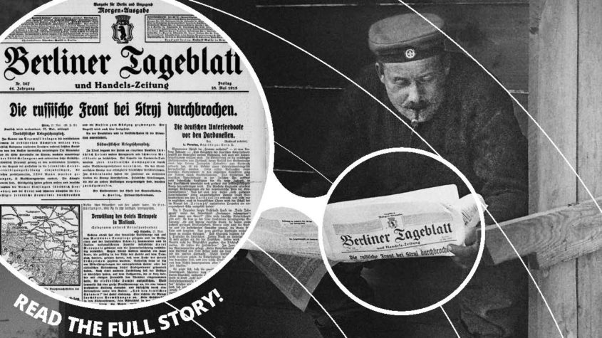 Europeana 1914-1918, Rolf Kranz, CC-BY-SA; Berliner Tageblatt 28.5.1915, Staatsbibliothek zu Berlin, Public Domain