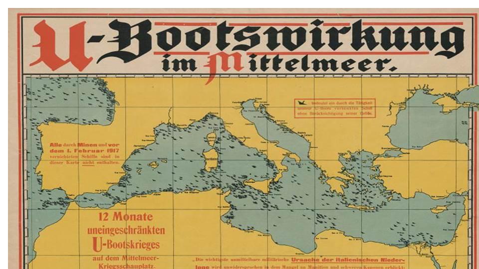 U-Bootswirkung im Mittelmeer : 12 Monate uneingeschränkten U-Bootkrieges ... , 1918 ; Staatsbibliothek zu Berlin, Public Domain