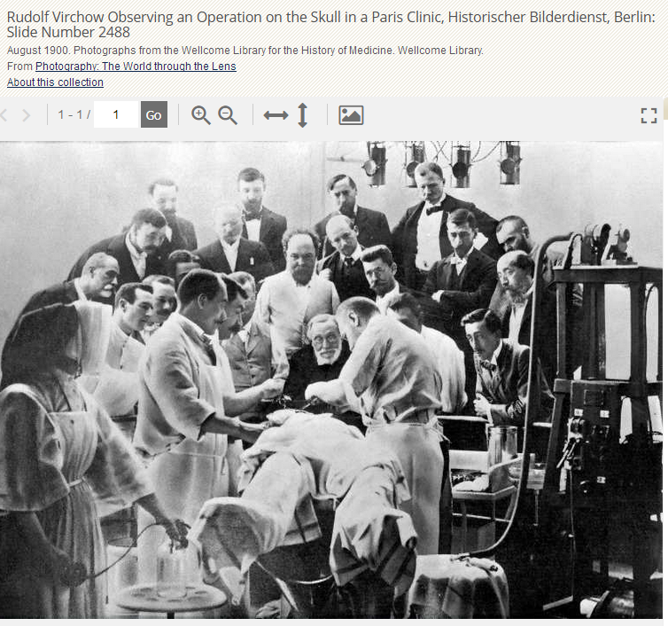 "© Gale – Quelle: ""Rudolf Virchow Observing an Operation on the Skull in a Paris Clinic, Historischer Bilderdienst, Berlin: Slide Number 2488."" Photographs from the Wellcome Library for the History of Medicine, Primary Source Media, 1900. Nineteenth Century Collections Online, http://tinyurl.galegroup.com.00013cje03d2.erf.sbb.spk-berlin.de/tinyurl/8C2f2X. Accessed 30 Oct. 2018."