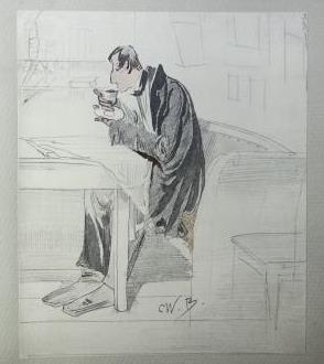 Faksimile-Reproduktion einer Zeichnung von Wilhelm Busch aus dem Band: Wilhelm Busch: Bildergeschichten und Zeichnungen der Sammlung Wrede. Lizenz CC BY-NC-SA 3.0 Staatsbibliothek zu Berlin-PK