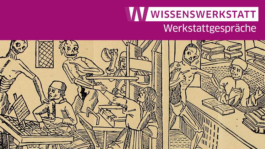 Bildausschnitt: Makabertanz in der Druckerei, 1499. CC BY NC SA 3.0