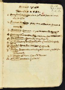Apostolo Zeno's table of contents