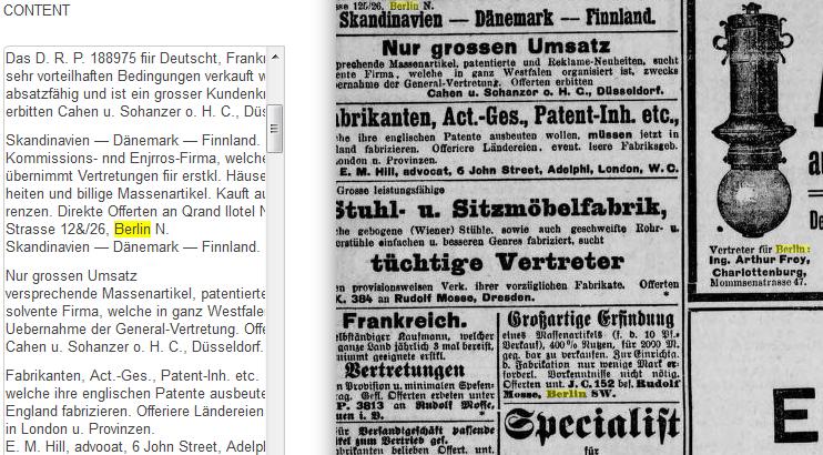 """Treffer-Highlighting (in Gelb) am Beispiel einer Ausgabe des <em>Berliner Tageblatt</em>, <a href=""""http://sbb.berlin/7djmvo"""" target=""""_blank"""">http://sbb.berlin/7djmvo</a>"""