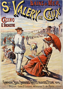 "Affiche / Plakat ""Bain de mer. St Valéry en Caux...."" von Ch. Brun (Plakatmaler, 18..-19..). 1895. Source gallica.bnf.fr / BnF"