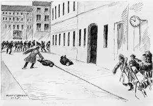 Die Ermordung des Bayerischen Ministerpräsidenten Kurt Eisner auf dem Weg zum Landtag, am 21. Februar 1919