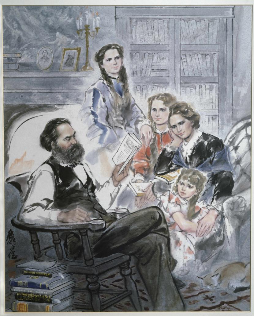 Ghan Zen Lun: Karl Marx im Familienkreis. – Datierung: o.J. – Copyright: bpk / Alfredo Dagli Orti